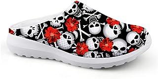 Men's Slippers Mesh Width Clog Mules Beach Shoes White Black Skull Red Flower Design Fashion Sandals Man Flat Shoes Slip O...