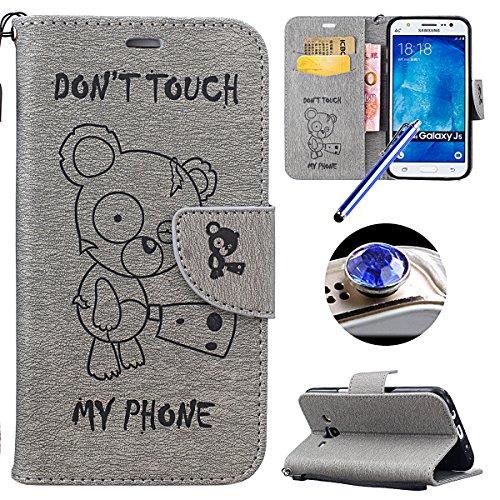 [Samsung Galaxy J5(2015)] Cuir Flip Coque,Samsung Galaxy J5(2015) Housse de Téléphone en Cuir, Etsue Retro Panda Motif Portefeuille en Cuir Folio Couverture de Case par Fermeture Magnétiqueet avec Carte de Visite Dossier Fonction pour Samsung Galaxy J5(2015) + 1x Cordon + 1 x Bleu stylet + 1 x Bling poussière plug (couleurs aléatoires)-Panda Gris