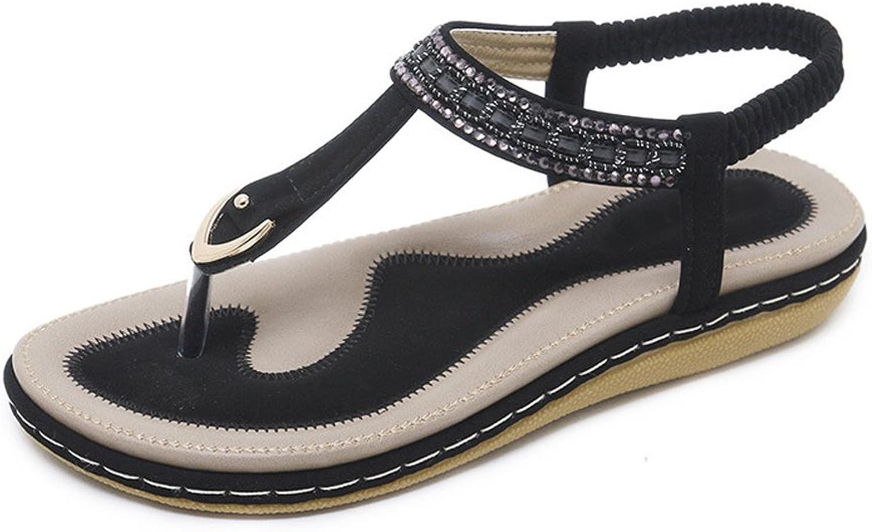 Dreneco Women Bohemian Rhinestone Flat Sandals,Summer Comfortable Flip-Flops shoes for Ladies