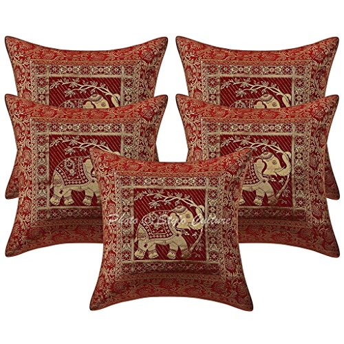 Stylo Culture Brocade Boho Bedroom Cushion Covers Maroon 40cm x 40cm Elephant Scatter Cushions For Couch Jacquard Weave Home Decoration 16x16 inches Throw Pillows (Set Of 5)