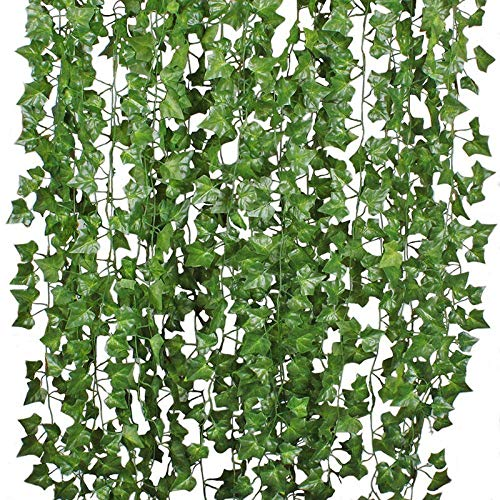Artificial Green Ivy Garland Fake Hanging Foliage Vine Leaves 12 Strands In The Pack 84FT/ 25Meters Decoration For Wall, Cakes, Indoor and Outdoor, UV and Weather Resistant