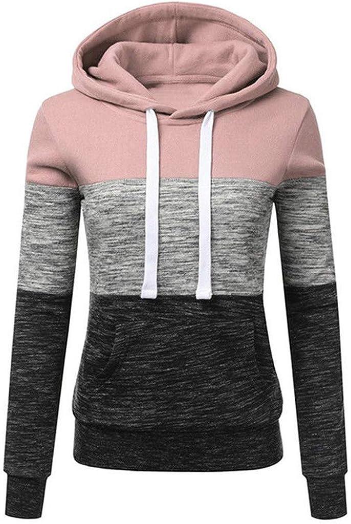 POLLYANNA KEONG Sweatshirts for Women,Color Block Long Sleeve Hoodie Casual Crewneck Drawstring Jackets Coat