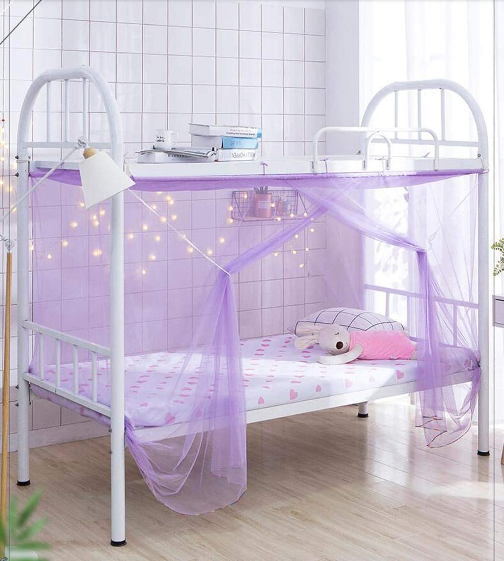 Mengersi Student Mosquito Net, Bunk Bed Nets Bed Canopy Fly Screen Square Bed Curtains Insect Protection Repellent Shield for Home Travel Out Door (Twin, Pink): Home & Kitchen