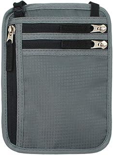 Travel RFID Blocking Wallet, Passport Holder, Hidden Pouch Bag Anti Theft Neck Wallet for Women and Men (Gray)