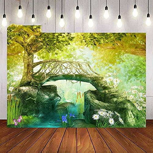 Fondos fotográficos Fondo para fotografía de Cuento de Hadas Bosque de Dibujos Animados Flores de ensueño Retrato de árbol de decoración Infantil para Foto de estudio-5x3FT