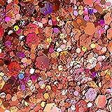 ICRAFT – 10 g bolsas de purpurina de tamaño mixto grueso y holográfico para suministros de cera derretida, arte de uñas, arte de resina, tarjetas, velas y jabón y manualidades en general (rosa claro))