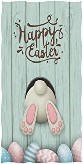 Naanle Lovely Easter Rabbit Colors Eggs Bunny Pattern Soft Absorbent Guest Hand Towels Multipurpose for Bathroom, Hotel, Gym and Spa (16 x 30 Inches)