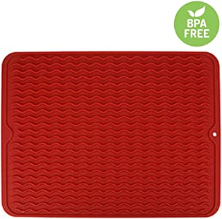 VARUN Silicon Dish Drying Mats, Non-Slip & Heat Resistant Trivet,Durable Kitchen Drainer pad, Red Large16'' X 12'',Eco-Friendly and BPA Free, Dishwasher Safe