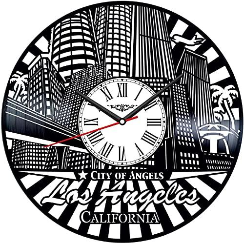 Reloj de pared de vinilo de Los Ángeles, reloj de pared de vinilo, negro, hecho a mano, idea de regalo única