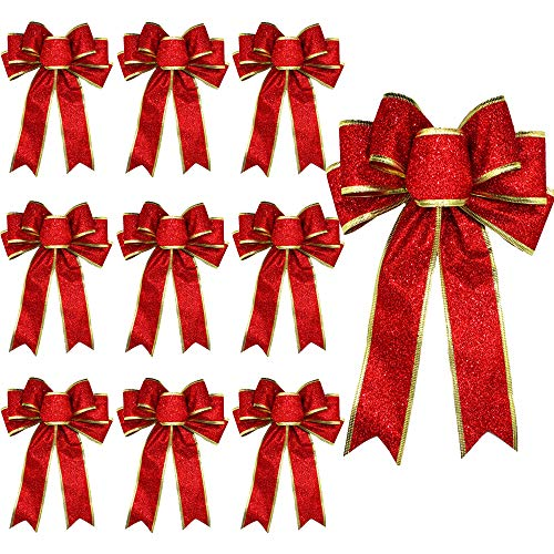 10PCS Christmas Ribbon Glitter Bows Christmas Tree Hanging Ornaments Holiday Christmas Party Decorations Supplies(Red)