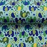 Softshell Stoff Elefanten Petrol Aqua blau 0,50m x VB