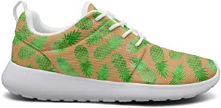 Women's Ultra Lightweight Breathable Mesh Athleisure Sneakers Vintage Green Watercolor Pineapple Fashion Walking Shoes