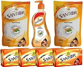 SANTOOR Soap Sandal and Turmeric+Handwash Classic Sandalwood & Tulsi (7 Items in the set)