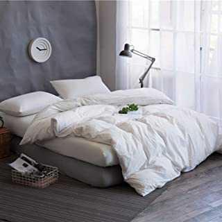 Mucalis White Bedding Set King Solid White Duvet Cover Set 3PC Washed Cotton Linen Ultra Comfy Don't Fade