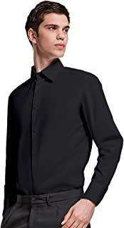 Camisa Negra Lisa Clásica de Algodón para Hombre con Cuello Italiano, Manga Larga y Puños Largos con Dos Botones