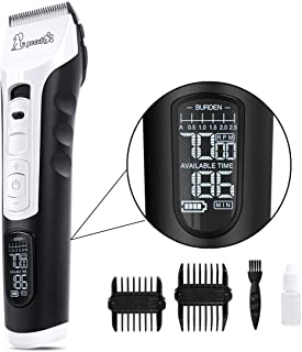 Pecute Dog Clippers Rechargeable Pet Clippers - 5 Speeds LCD Display, 50 DB Ultra-Quiet Hair Clippers Set with 4h Work Tim...