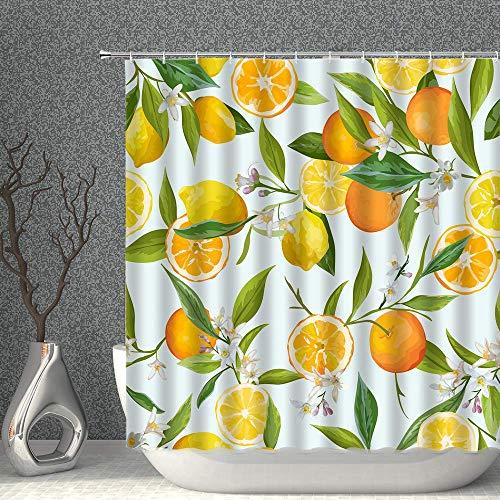 N\A Pflanze Blumendekor Duschvorhang Tropische Früchte Zitrone Gelbgrün Stoff Badvorhänge Wasserdichtes Polyester mit Haken