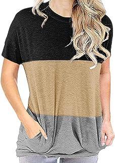 OrientalPort Basic - Maglietta da donna estiva a maniche corte casual con stampa patchwork, con tasche
