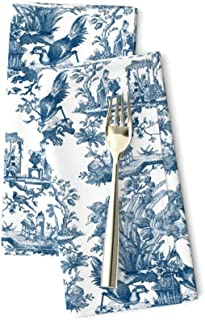 Silhouette  Autumn Colonial Cloth Napkins by Spoonflower - Blue Leaves On Vanilla by lauriekentdesigns Botanical Dinner Napkins Set of 2