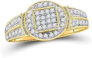 1//20 Cttw. Jewel Tie Solid 10k Yellow Gold Mens Round Diamond Single Row Cross Wedding Band