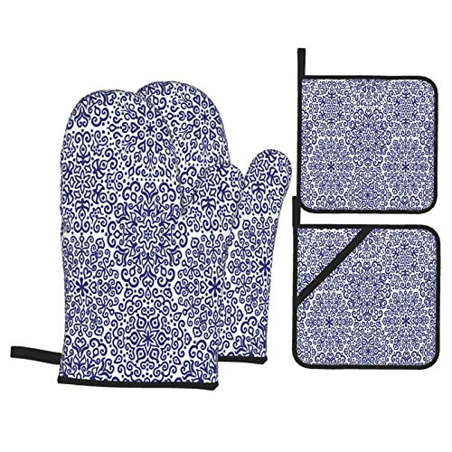 Alvaradod Oven Mitts and Pot Holders Sets of 4,Russian Ethnic Blooms Hearts Print,Polyester BBQ Gloves with Quilted Liner Resistant Hot Pads for Kitchen Cooking Baking Grilling