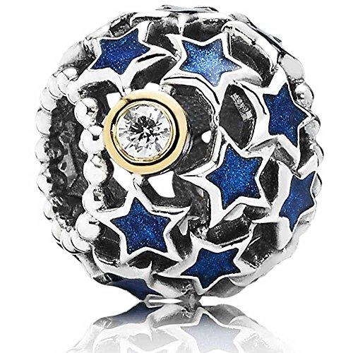 Pandora Silver Night Sky Openwork 14ct Gold Blue Enamel Star Charm 791371CZ