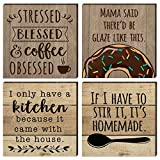 Farmhouse Refrigerator Magnets | 4 Rustic Design Farm Theme Funny Magnet Set | for Fridge, Dishwasher, Magnetic Kitchen Whiteboard | Coffee, Donut, House, Homemade Sayings