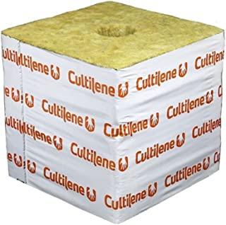 Cultilene Rockwool Blocks w/ Quick Drain Hole, PREMIUM Rock Wool Big Block Starter Cubes for Hydroponics, Cuttings, Cloning, Plant Propagation, Seed Starting (Pack of 48, 6x6x6 Blocks)