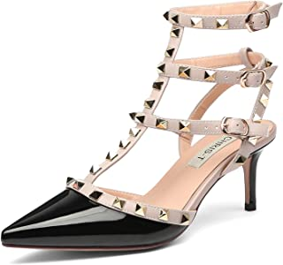 47c8ff25d3670b Chris-T Women s Pointy Toe Buckle Sandals Studded Slingback Kitten Heels  Studs Leather Dress Pumps