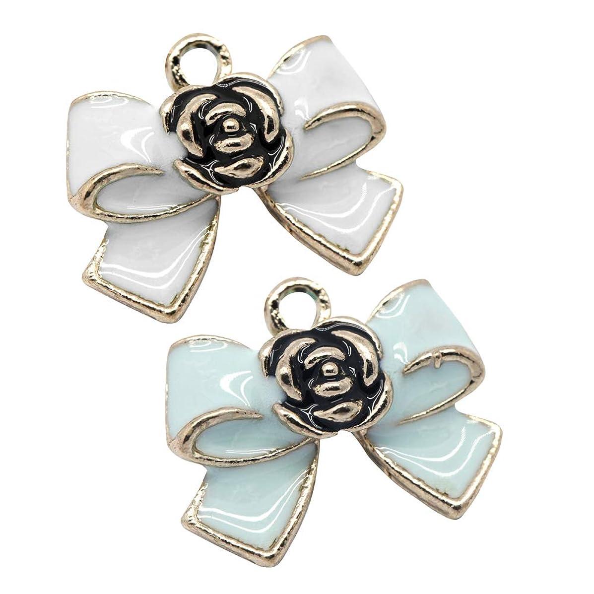 M252-E 8pcs New Cute Blue White Bow Bracelet Charms Pendants Wholesale