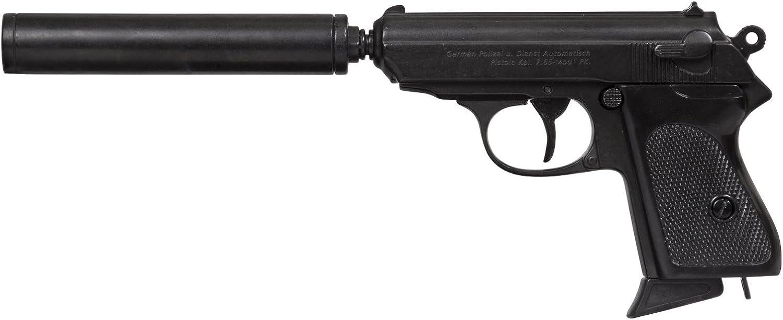 Denix Replik Pistole Englischer Geheimagent mit Schalldmpfer zerlegbar