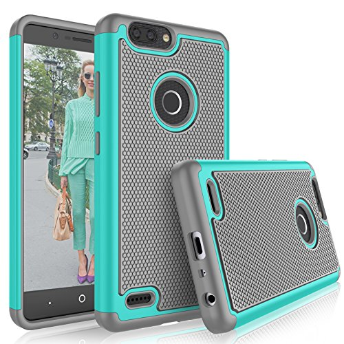Tekcoo Compatible for ZTE Blade Z Max Case/ZTE Zmax Pro 2 Case/ZTE Sequoia Cover, [Tmajor] Shock Absorbing [Turqoise] Rubber Silicone Plastic Scratch Resistant Defender Sturdy Grip Hard Cute Cases