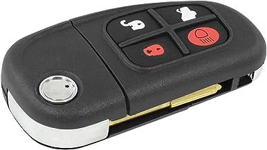 Carcasa Llave Carcasa Mando a distancia completo negro 4teclas y hoja plegable Fijación Jaguar X-Type S-Type XJ8XJR chiavit rodillos concha llaves Coche Repuesto Logo sin electrónica y Transponder