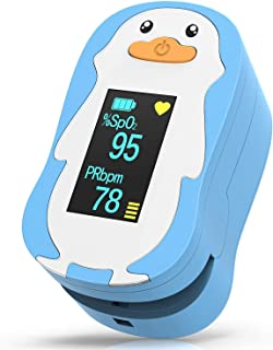 HOMIEE Punta de Dedo del Oxímetro de Pulso para Niños, Niños Uso Infantil Monitor de Saturación de Oxígeno en la Sangre Oxímetro de SpO2, Función de Reposo Automático, Pantalla OLED de 4 Direcciones