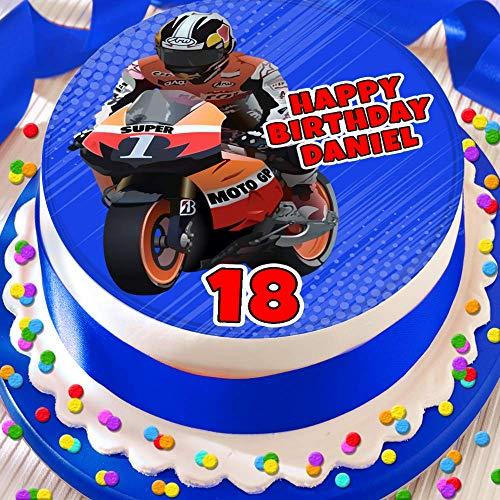 Motor Bike Gelukkige Verjaardag Gepersonaliseerde 7.5 INCH Eetbare Icing Cake Topper Decoratie