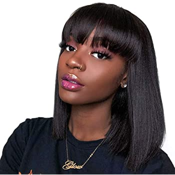 Amazon Com Human Hair Wigs With Bangs Brazilian Straight Virgin Human Hair Wigs Bob Wigs With Bangs 130 Density Hair Glueless Silky Machine Made Wigs For Black Women Natural Color 14 Inch Beauty