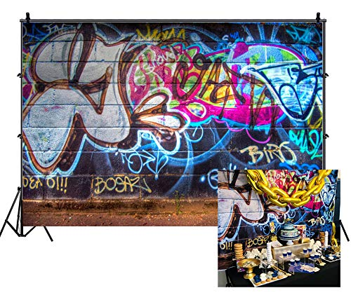 Leowefowa 7X5FT Graffiti Backdrop 80's Hip Hop Backdrops for Photography Hand Drawing Mural Painting on Brick Wall Vinyl Photo Background Boys Adults Party Room Wallpaper Studio Props