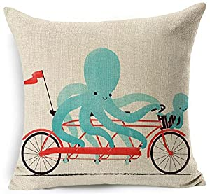 """Cute Cartoon Animal Adorable Riding A Bicycle Cotton Linen Decorative Throw Pillow Case Personalized Cushion Cover Square 18 """"X18 """""""