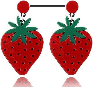 sliced strawberry milk tea earrings