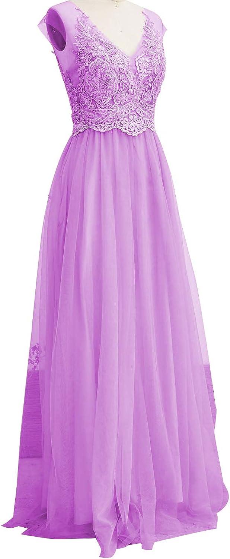 Tutu.vivi Women's Vintage Lace Tulle Bridesmaid Dresses Appliques Long Prom Dress 2018
