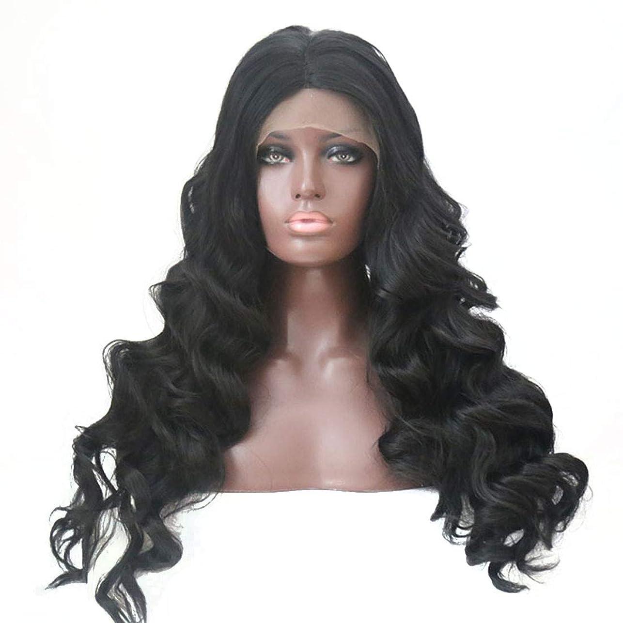 子サンダルあたたかいBOBIDYEE さん気質大きい波状の長い巻き毛のふわふわの黒のかつらフロントレースかつら合成髪のかつらロールプレイングかつら (色 : 黒, サイズ : 22 inches)