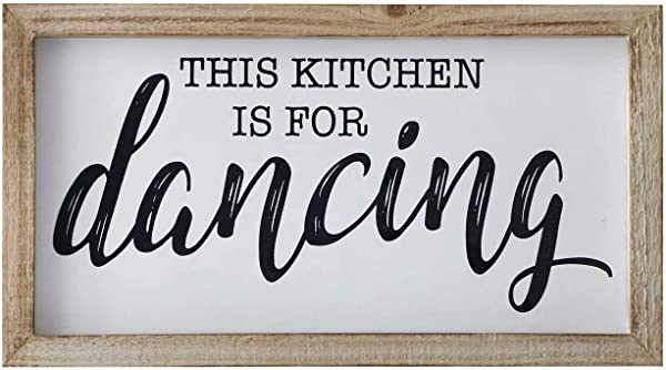 SANY DAYO HOME Rustic Wood Framed Signs 9 X 16 Inch Hanging Farmhouse Wall Art D Cor With Funny Saying For Home Kitchen Bathroom This Kicthen Is For Dancing