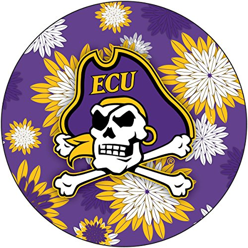 R and R Imports, Inc East Carolina ECU Pirates NCAA NCAA Collegiate Trendy Floral Flower Fashion Pattern 4 Inch Round Decal Sticker