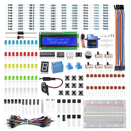 SUNFOUNDER Electronics Fun Kit with 1602 LCD Module, breadboard, LED, Resistor for Arduino Uno MEGA2560 or Raspberry Pi