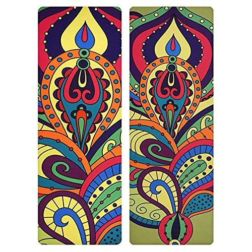Toalla de Yoga Alfombra de Yoga Impresa de Gamuza de Caucho Natural de 1,5 mm de Largo, Alfombra de Ejercicio lpegable Antideslizante, Adecuada Para Ejercicios de Yoga Pilates Calientes en el Piso