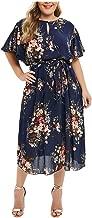 TOTOD Women Dresses Fashion V Neck Appliques Floral Plus Size Solid Bodycon Party Prom Midi Dress