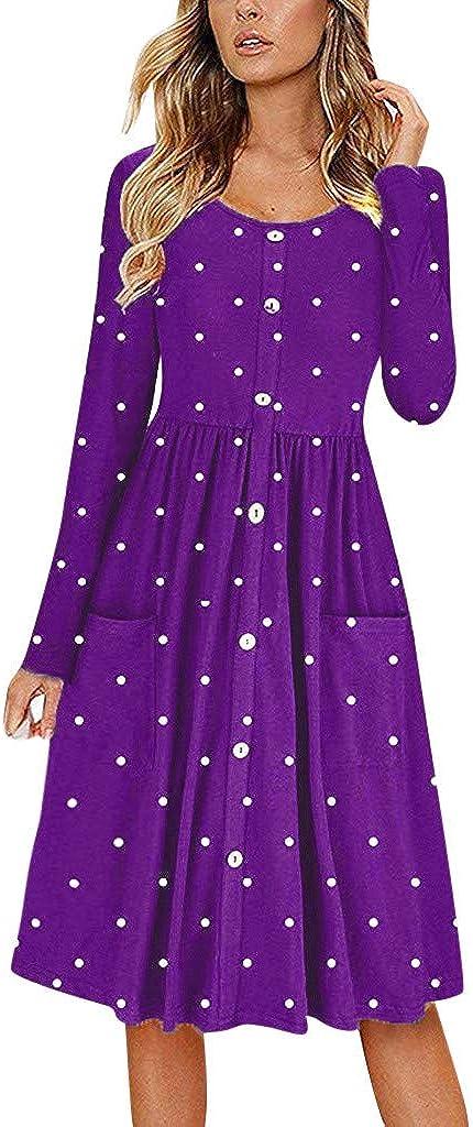 Button Dress Women Dot O Neck Long Sleeve Pocket Casual Beach Long Maxi Dress