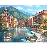 Pintura por números para adultos niños DIY pintura al óleo pintada a mano paisaje de la ciudad pintura decoración del hogar A23 45x60cm