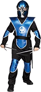 Fun World Big Boy's Chrome Raven Ninja Costume, Large, Blue