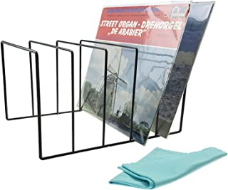"""Record-Happy Vinyl Record Storage Holder – Premium Metal Rack Display Stand with Microfiber LP Cleaning Cloth - Vinyl coated Wire holds up to 50 Albums Solid Stylish Contemporary Concept for 12"""" discs"""